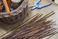 Wiązka wikliny i narzędzia niezbędne do stworzenia koszyka