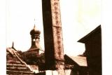 Komin starej piekarni Melochów- na szczycie komina gniazdowały bociany